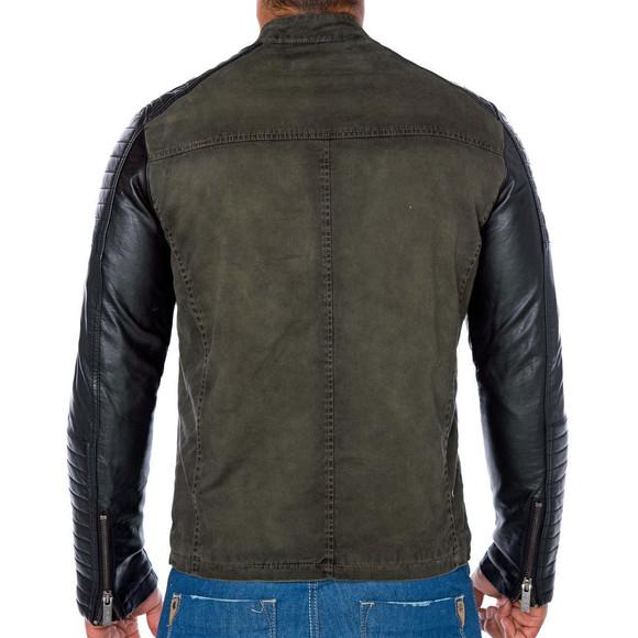 Red Bridge Herren Biker Jacke Kunst- Lederjacke Jacket Khaki