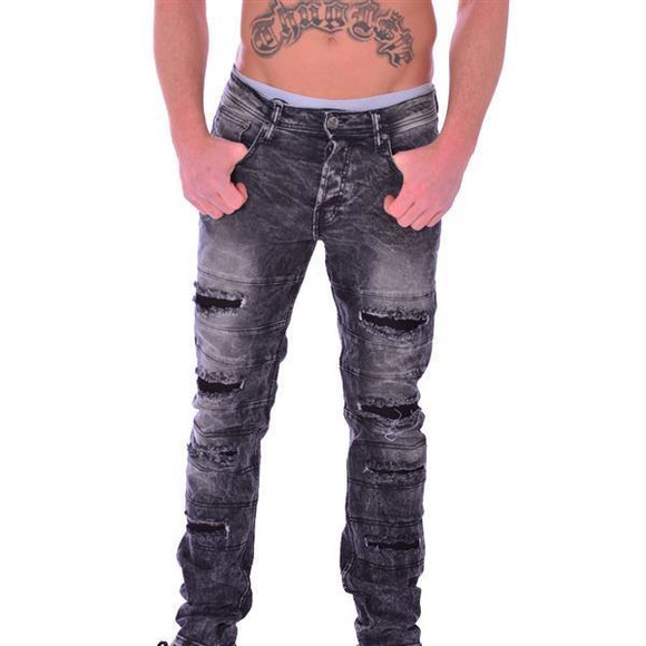 FREESIDE Herren Jeans GRAU Destroyed Bandero