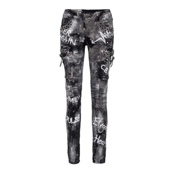 Cipo & Baxx Damen Jeans WD 397 mit cooler Waschung...