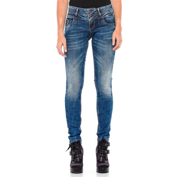 Cipo & Baxx Damen Jeans WD 379 Doppel-Bund-Jeans in...