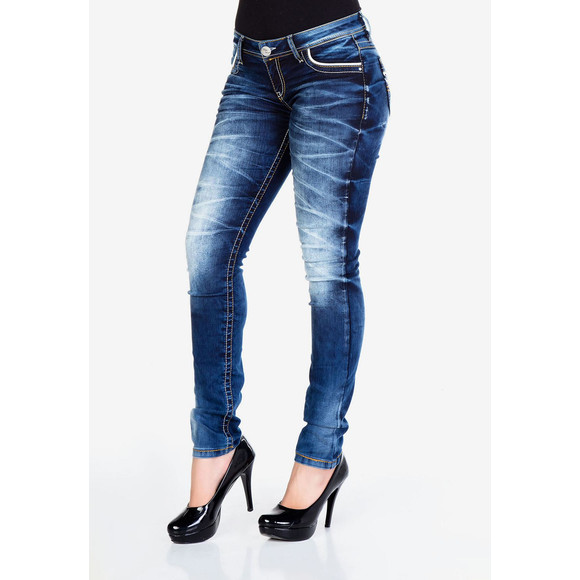Cipo & Baxx WD256 Damenjeans Nancy mit bestickten Taschen blau