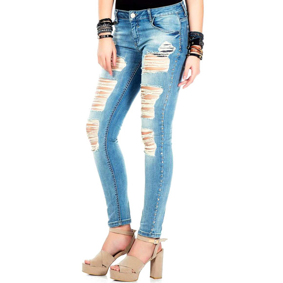 Cipo & Baxx WD326 Damenjeans, Damenhose blau