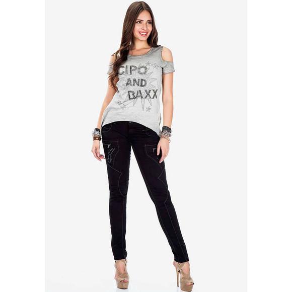 Cipo & Baxx WD332 Damenhose, Damenjeans schwarz
