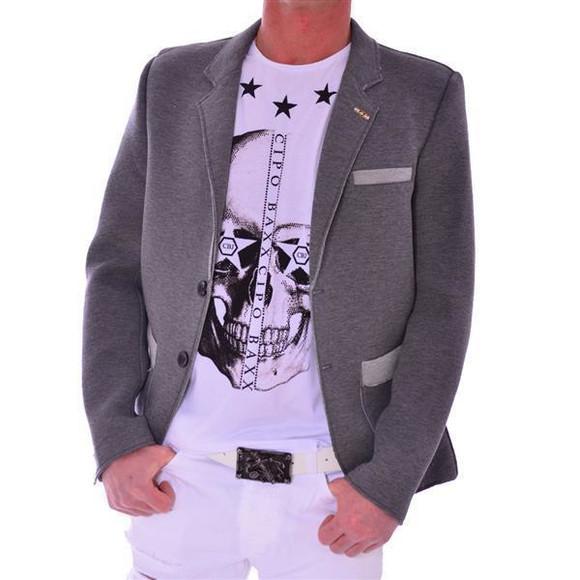 Cipo & Baxx Herren Sakko Jacket grau grey CJ108 XXL