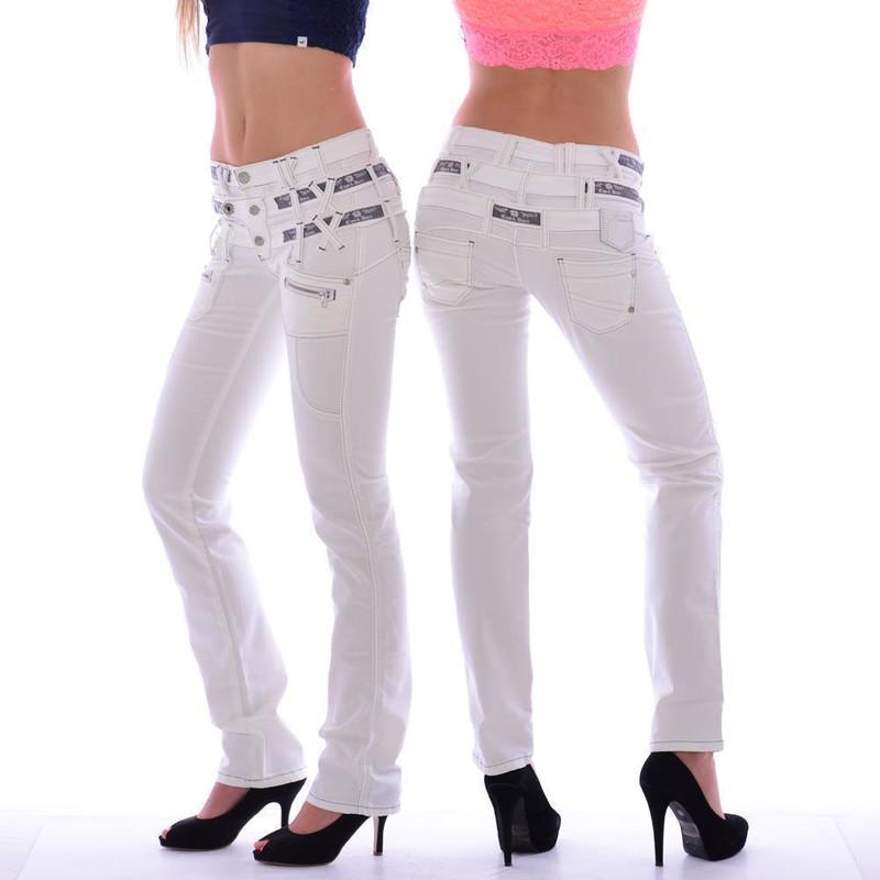 cf68738f31aaaf Cipo & Baxx CBW 245 Damen Frauen Jeans Hose Jeanshose Stretch dreifach Bund  weiß
