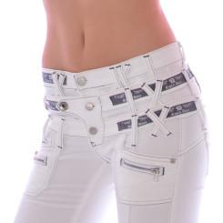 Cipo & Baxx CBW 245 Damen Frauen Jeans Hose Jeanshose Stretch dreifach Bund weiß