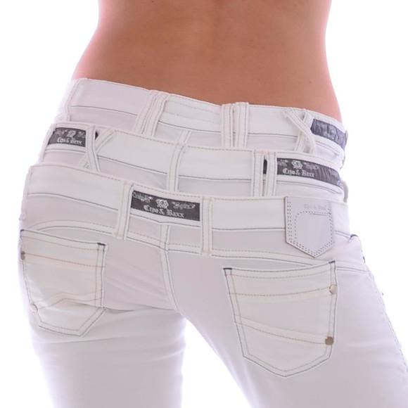 Cipo & Baxx CBW 245 Damen Frauen Jeans Hose Jeanshose Stretch dreifach Bund weiß W30 L34