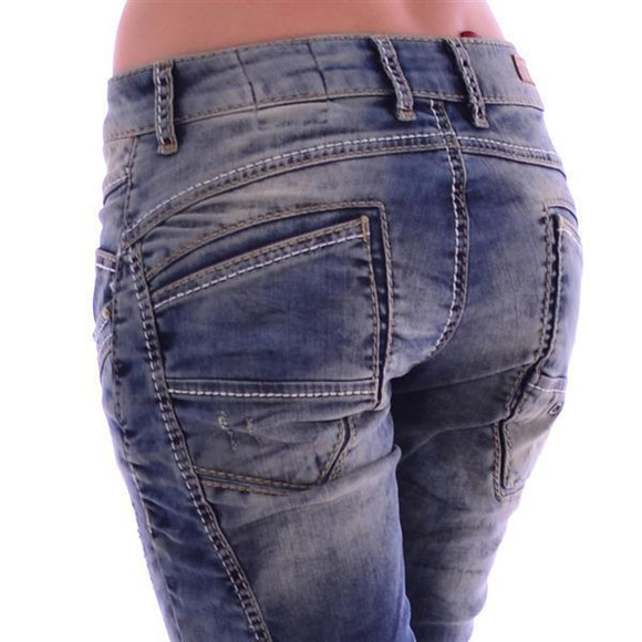 Cipo & Baxx WD 175 Damen Frauen Jeans Jeanshose Boyfriend Used Look blue blau W28 L32