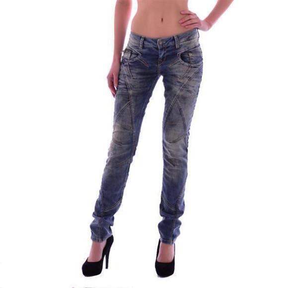 Cipo & Baxx WD 175 Damen Frauen Jeans Jeanshose Boyfriend Used Look blue blau W29 L34