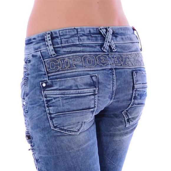 Cipo & Baxx WD 200 Damen Frauen Jeans Denim Jeanhose Zipper blau blue Slim Fit W30 L32