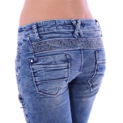Cipo & Baxx WD 200 Damen Frauen Jeans Denim Jeanhose Zipper blau blue Slim Fit W32 L32