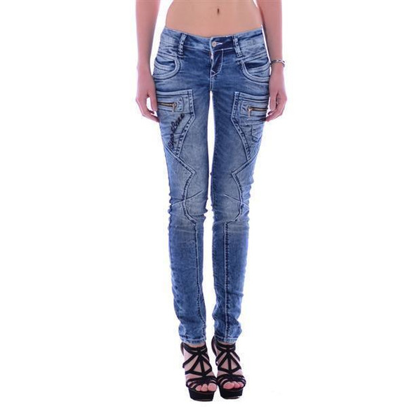 Cipo & Baxx WD 200 Damen Frauen Jeans Denim Jeanhose Zipper blau blue Slim Fit W28 L34