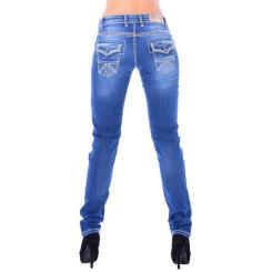 Cipo & Baxx WD 201 Damen Denim blue Jeans Skull dicke weiße Nähte slim fit blau W26 L32