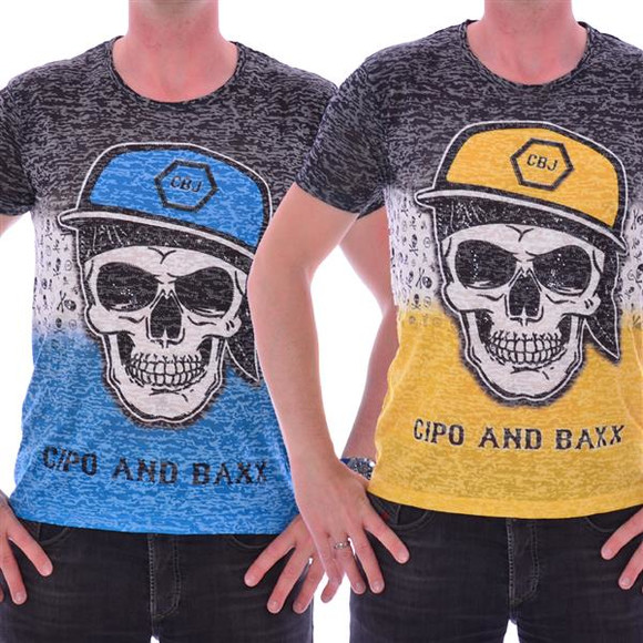 Cipo & Baxx Herren Skull Print Shirt YELLOW/BLUE CT197