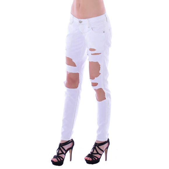 Cipo & Baxx Damen Destroyed WHITE weiß Jeans Hose WD227