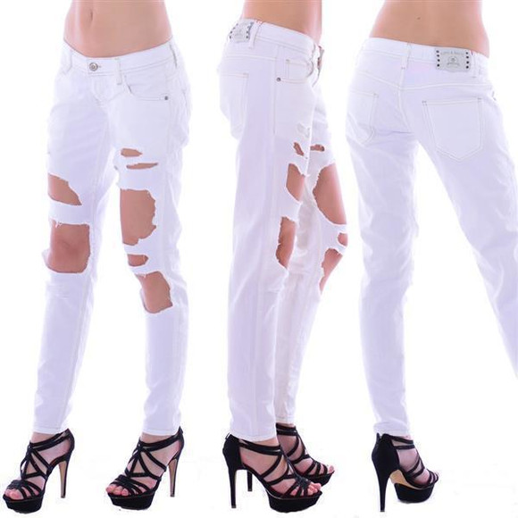 Cipo & Baxx Damen Destroyed WHITE Jeans Hose WD227