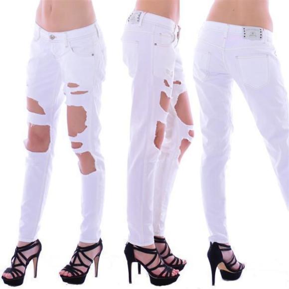 Cipo & Baxx Damen Destroyed WHITE weiß Jeans Hose WD227 W27 L34