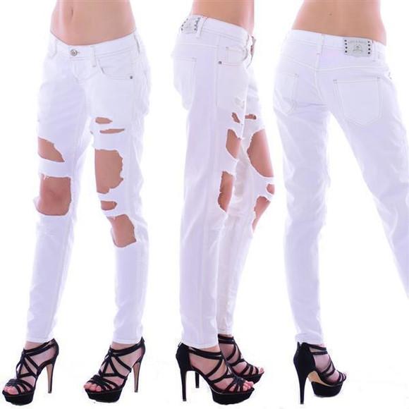 Cipo & Baxx Damen Destroyed WHITE weiß Jeans Hose WD227 W30 L34