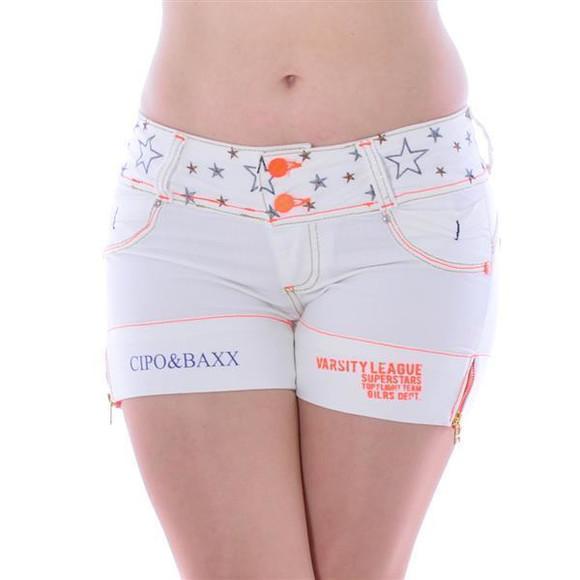 Cipo & Baxx Damen Kurze Short Jeans Panty Bermuda Shorts HOT Pants Weiss CBW-449