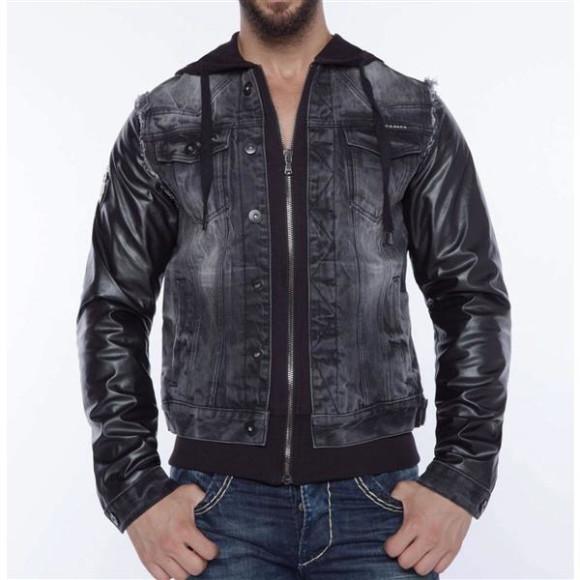 Cipo & Baxx C 1290 Herren Jeans Biker Jacke Kunstleder Sweat Double Optik Zipper Black S