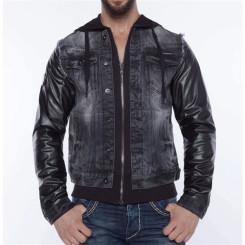 Cipo & Baxx C 1290 Herren Jeans Biker Jacke Kunstleder Sweat Double Optik Zipper Black L