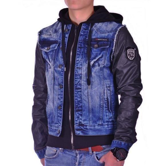 Cipo & Baxx C 1290 Herren Jeans Biker Jacke Kunstleder Sweat Double Optik Zipper Blue L