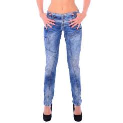Cipo & Baxx WD 245 Damen Frauen Jeans Slim Fit Röhre blau blue dreifach Bund W26 L32