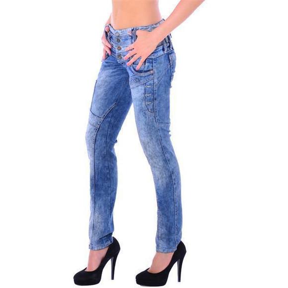 Cipo & Baxx WD 245 Damen Frauen Jeans Slim Fit Röhre blau blue dreifach Bund W28 L32