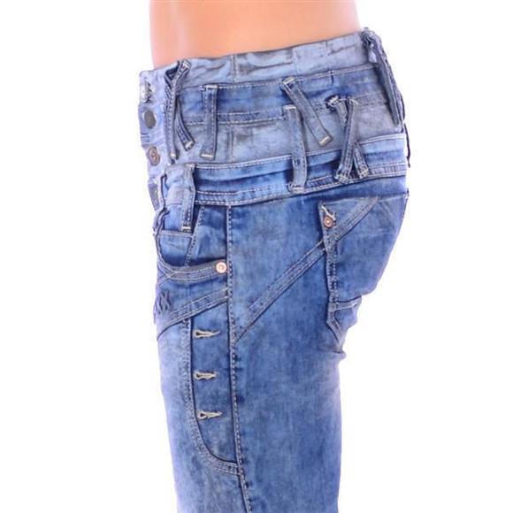 Cipo & Baxx WD 245 Damen Frauen Jeans Slim Fit Röhre blau blue dreifach Bund W31 L32
