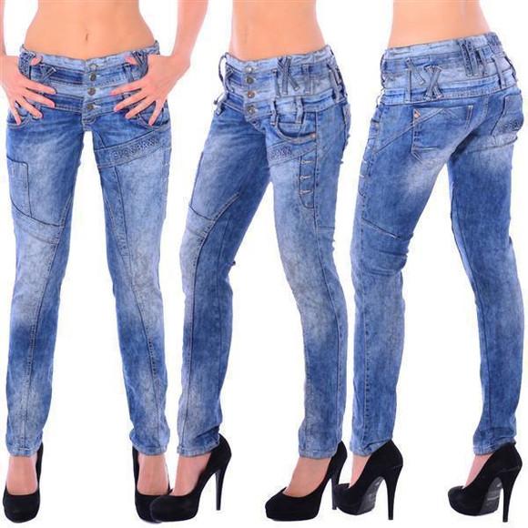 Cipo & Baxx WD 245 Damen Frauen Jeans Slim Fit Röhre blau blue dreifach Bund W26 L34