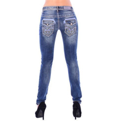 Cipo & Baxx WD 240 Damen Skinny Denim Röhren Jeans Jeanshose blau dicke Nähte W26 L32