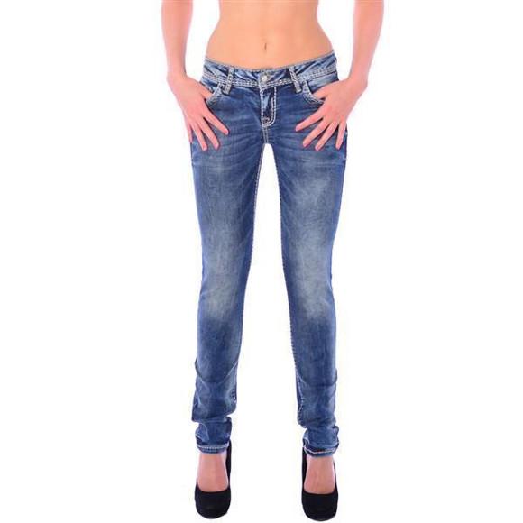 Cipo & Baxx WD 240 Damen Skinny Denim Röhren Jeans Jeanshose blau dicke Nähte W28 L34