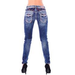 Cipo & Baxx WD 243 Damen Frauen Denim Skinny Röhren Jeans Used Look dicke Nähte