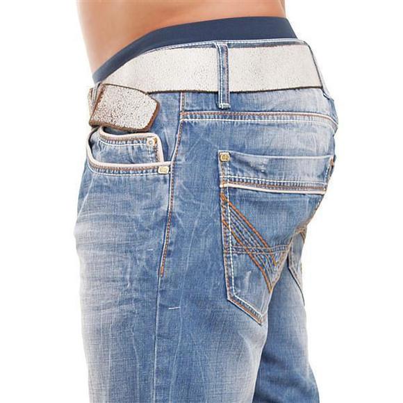 Cipo & Baxx C 595 Herren Jeans Blue Denim used Look Straight Cut Bootcut blau W40 L32