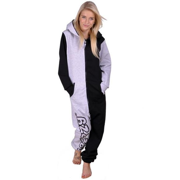 Lazzzy ® Grey / Black Jumpsuit Onesie Overall