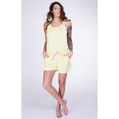 Lazzzy ® Light Yellow gelb SUMMY Short Jumpsuit Onesie Overall