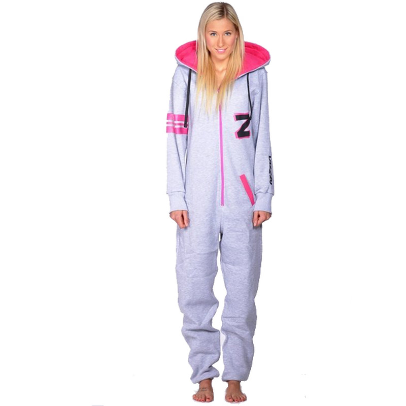 Lazzzy ® Fashion Grey Pink grau Jumpsuit Onesie Overall