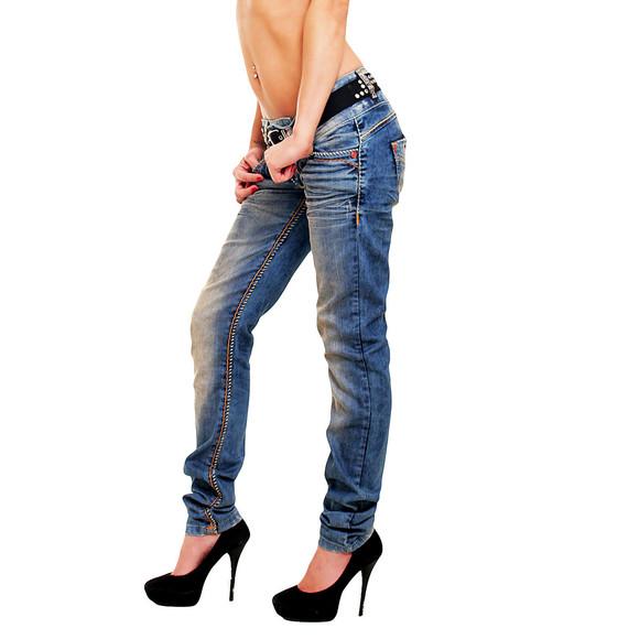Cipo & Baxx CBW 347 Damen Frauen Jeanshose Jeans Hose blau blue dirty used Look W25 L30