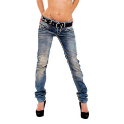 Cipo & Baxx CBW 347 Damen Frauen Jeanshose Jeans Hose blau blue dirty used Look W34 L32