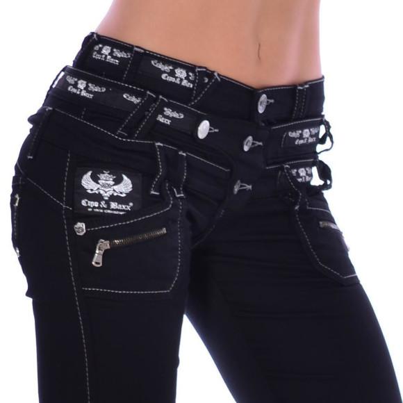 Cipo & Baxx CBW 313 Damen Frauen Jeans Hose Stretch schwarz black dreifach Bund W25 L30