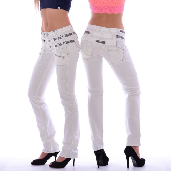 Cipo & Baxx CBW 245 Damen Frauen Jeans Hose Jeanshose Stretch dreifach Bund weiß W30 L30