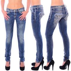 Cipo & Baxx WD 240 Damen Skinny Denim Röhren Jeans Jeanshose blau dicke Nähte W32 L32