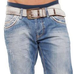 Cipo & Baxx C 595 Herren Jeans Blue Denim used Look Straight Cut Bootcut blau W28 L30