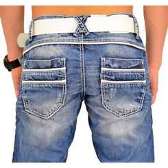 Cipo & Baxx C 1127 Herren Jeans Hose Denim Used Look Regular Jeanshose blau blue W42 L32