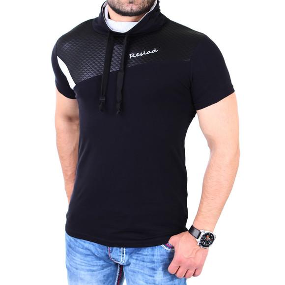 Reslad T-Shirt Herren Kunst- Leder Applikationen Schalkragen Shirt RS-05 Schwarz M