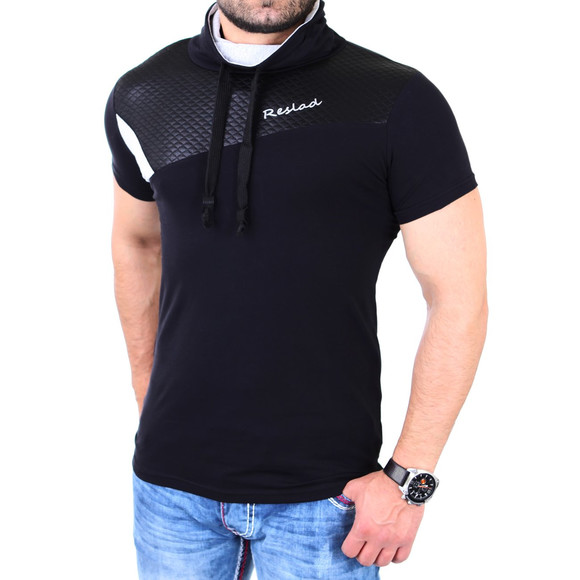 Reslad T-Shirt Herren Kunst- Leder Applikationen Schalkragen Shirt RS-05 Schwarz XL