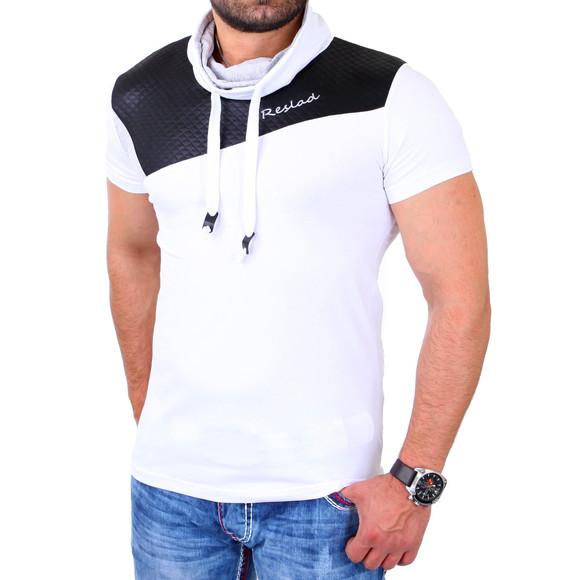 Reslad T-Shirt Herren Kunst- Leder Applikationen Schalkragen Shirt RS-05 Weiß L
