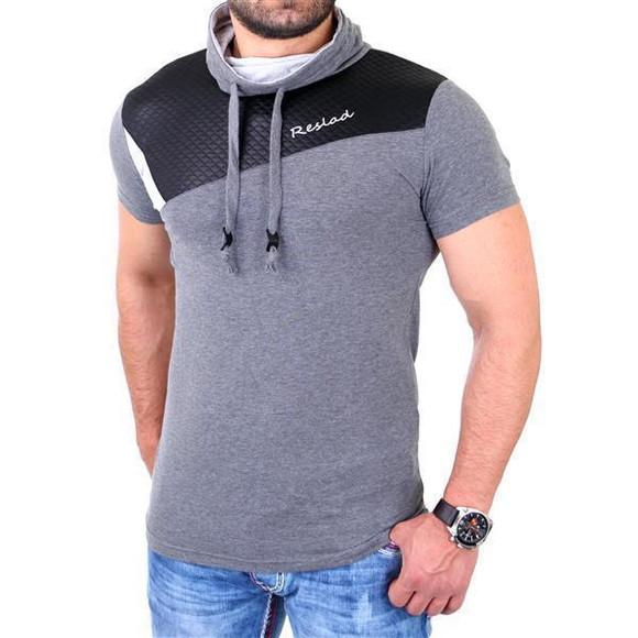 Reslad T-Shirt Herren Kunst- Leder Applikationen Schalkragen Shirt RS-05 Anthrazit L