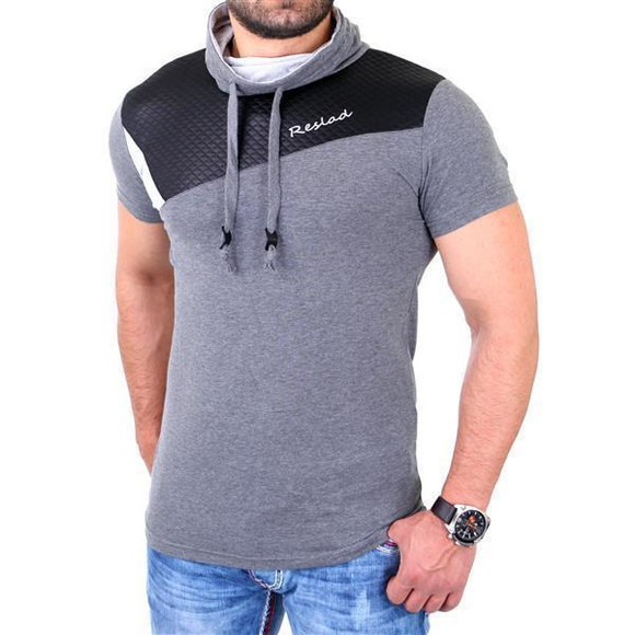 Reslad T-Shirt Herren Kunst- Leder Applikationen Schalkragen Shirt RS-05 Anthrazit 2XL