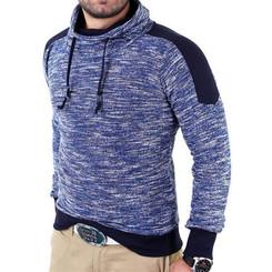 Reslad Herren Huge Collar Sweatshirt Pullover RS-105 Blau S